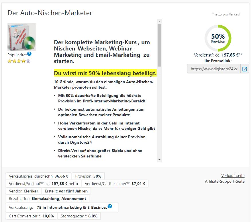 Der Auto-Nischen-Marketer Verdienst