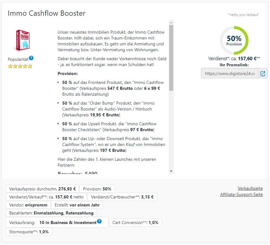 Immo Cashflow Booster Verdienst als Affiliate