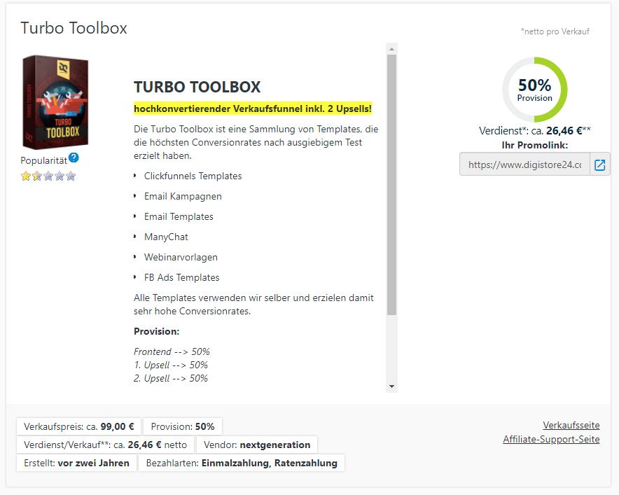 Turbo Toolbox Verdienst