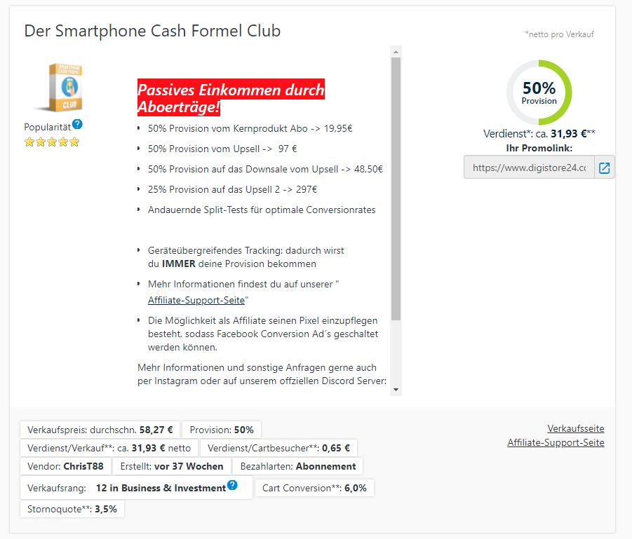 smartphone cash formel club verdienst als affiliate