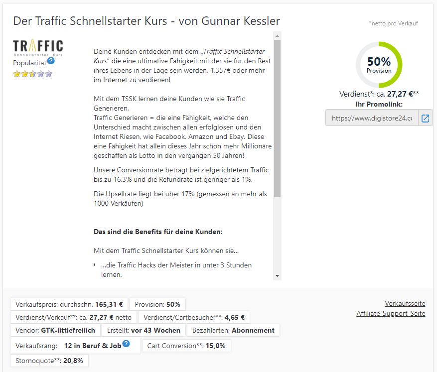 traffic schnellstarter kurs Digistore24
