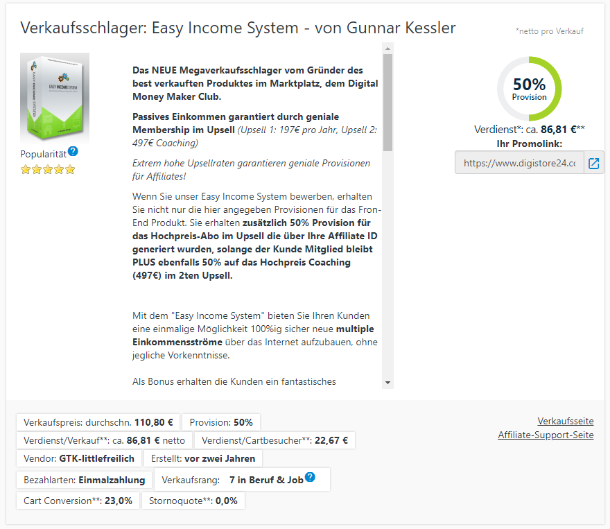 Easy Income System Erfahrungen Affiliate