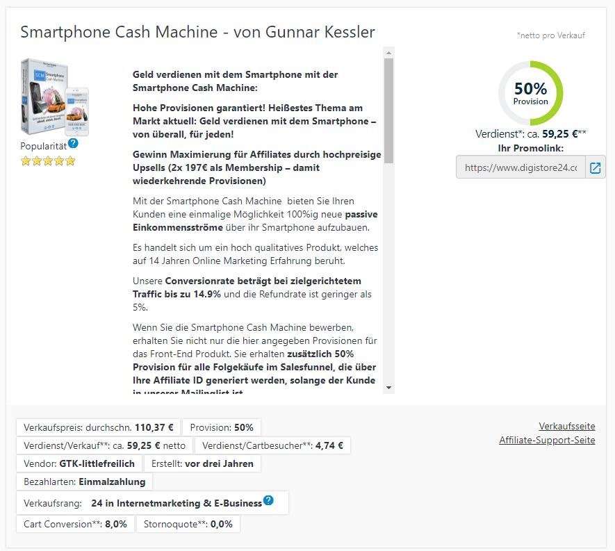 Smartphone Cash Machine Erfahrung als Affiliate