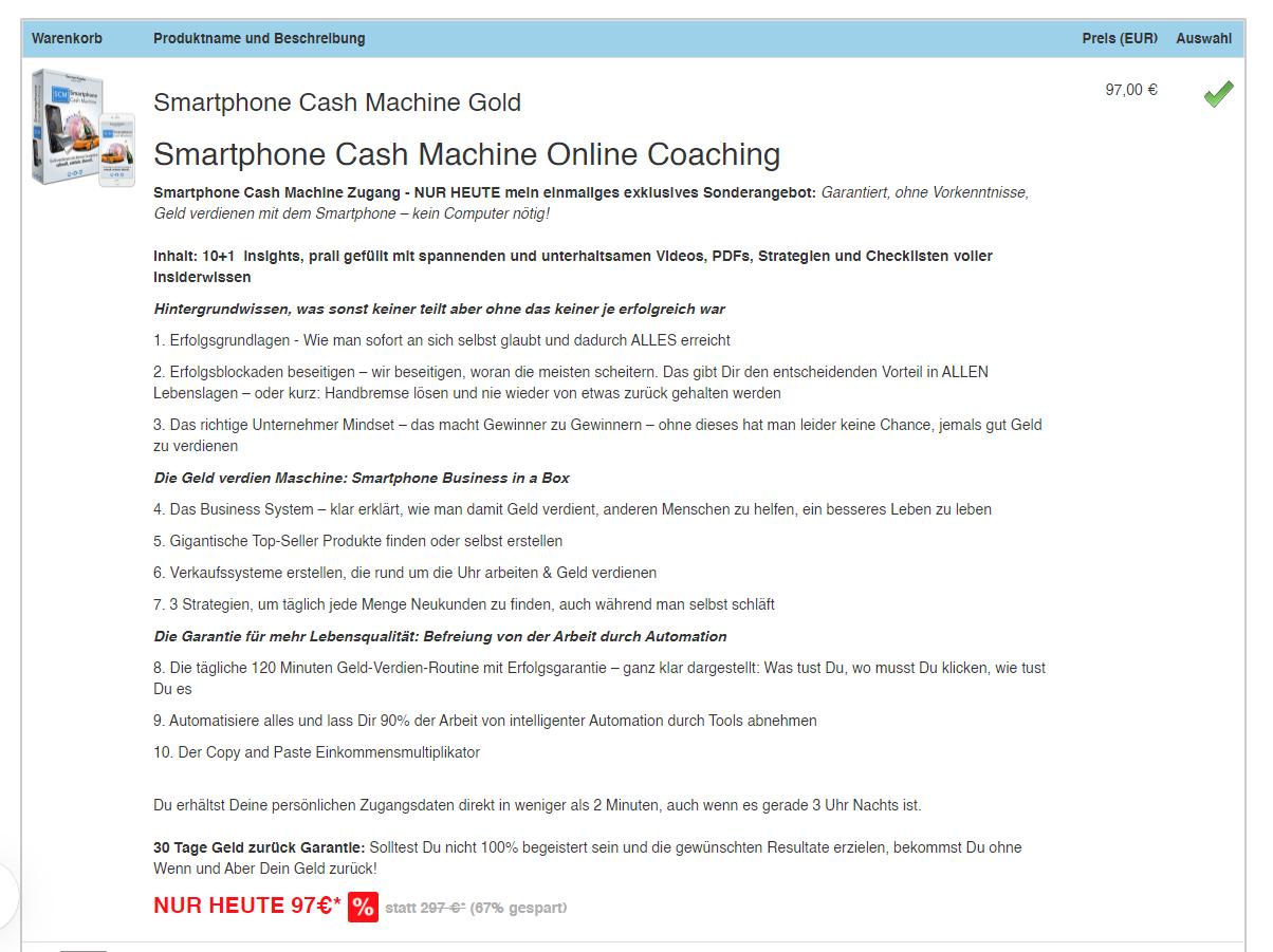 Smartphone Cash Machine Erfahrung