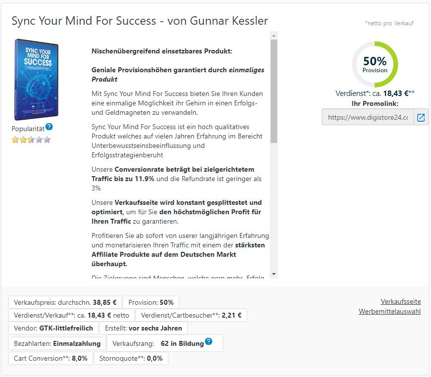 Sync Your Mind For Success Affiliate Verdienst