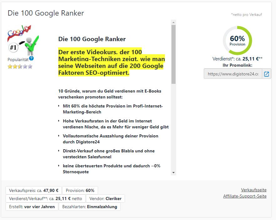 die 100 Google Ranker von Lars Pilawski