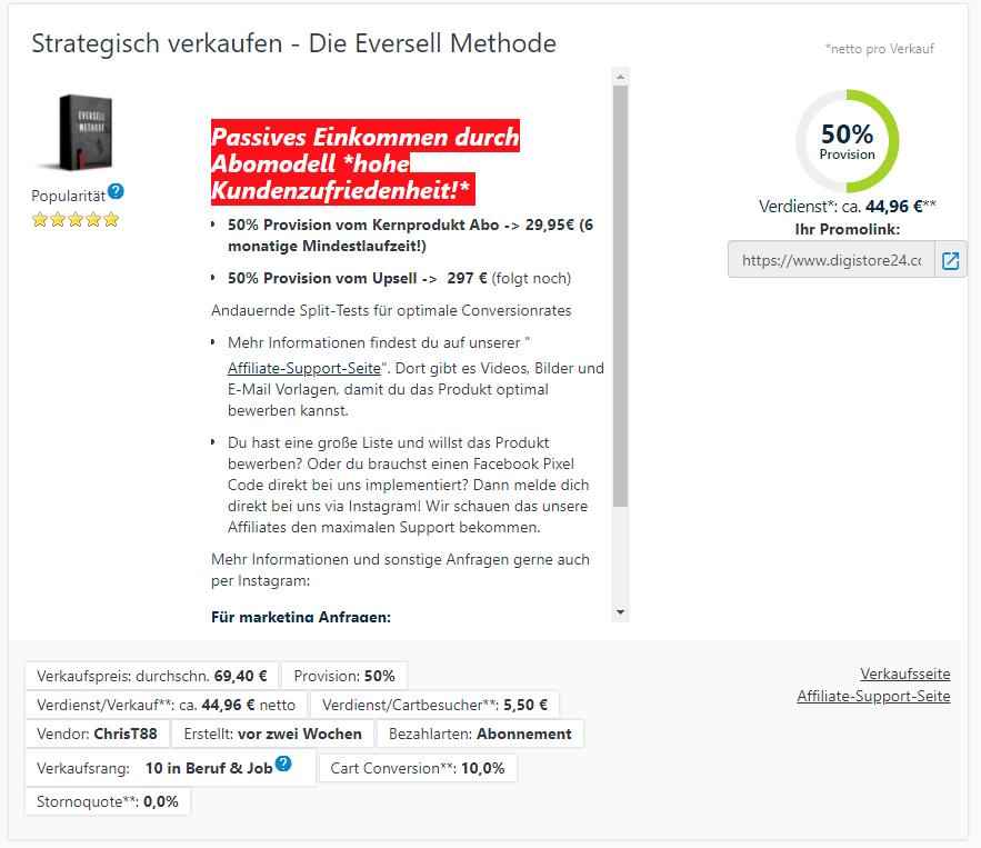 eversell methode Digistore24